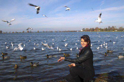 In Hard füttert Alona die Vögel am See. Durch den Schnee waten muss sie dafür nicht.  Foto: VN/Paulitsch