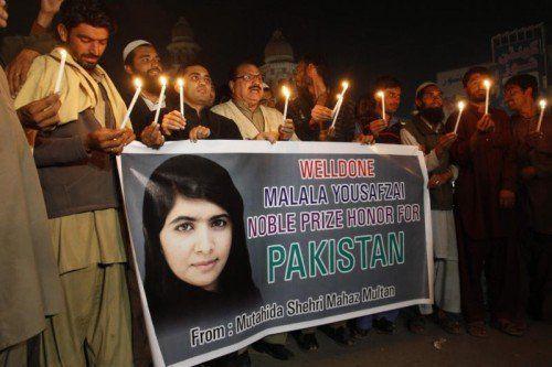 Menschen in Malala Yousafzais Heimatort Mingora in Pakistan sind stolz auf die Nobelpreisträgerin.  Foto: AP