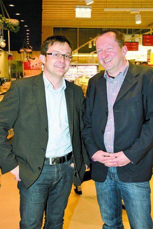 V. l.: Christoph Egger (Metzgerei Broger) und Stefan Fessler (Käse Moosbrugger).