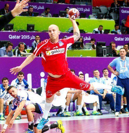 Mit 42 Toren und einer Erfolgsquote von 69 Prozent war der Harder Robert Weber der erfolgreichste ÖHB-Spieler bei der WM in Katar. Foto: epa