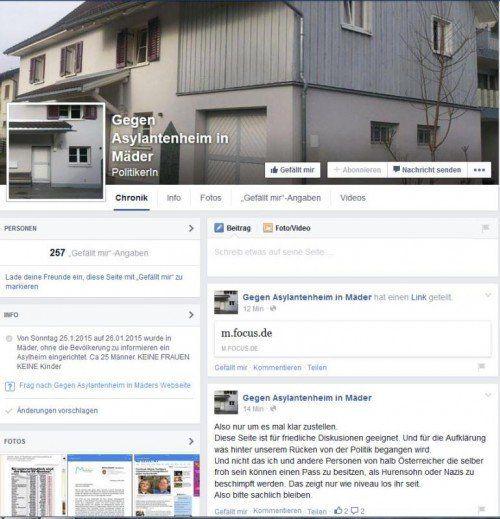 Die Macher einer Facebookseite wehren sich gegen das kurzfristig eingerichtete Asylwerberheim in Mäder.  Screenshot: Facebook.de