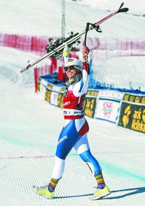 Heimsieg in der Abfahrt von  St. Moritz: Lara Gut. Foto: apa