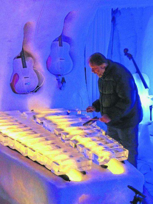 In Luela am Bottnischen Meerbusen treten die coolsten Musiker auf. Instrumente und der Konzertsaal sind aus Eis. Foto: lädtke