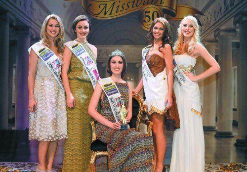V. l.: Kristina aus Höchst (Platz 5), Vizemiss Suzana aus Lustenau, Miss Vorarlberg 2015 Olivera aus Hohenems, Maria aus Dornbirn (Platz 3) und Jacqueline aus Fußach (Platz 4).