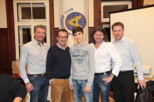 Christoph Ganahl (l.), Walter Eberle, Pius Himmer sowie Christoph Mayr und Michael Halmschlager. Fotos: Franc
