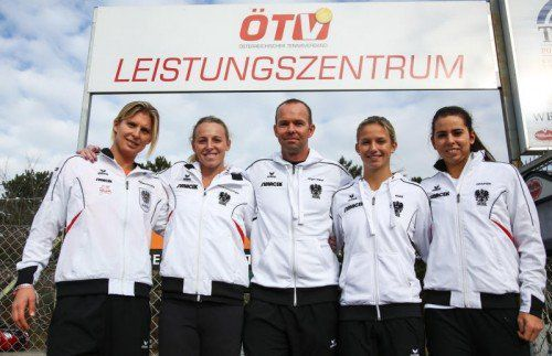 Das ÖTV-Equipe in Budapest (v. l.): Sandra Klemenschits, Patricia Mayr-Achleitner, Jürgen Wraber, Barbara Haas und Julia Grabher. Foto: gepa