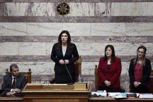 Die neue griechische Parlamentspräsidentin Zoe Konstantopoulou schoss sich in ihrer Antrittsrede gleich auf Deutschland ein. FOTO: AP