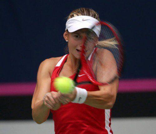 Fed-Cup-Debütantin Barbara Haas unterlag in der Auftaktpartie gegen Serbien Ivana Jorovic mit 3:6, 2:6. Foto: gepa