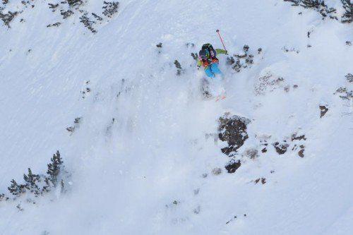 FIEBERBRUNN,AUSTRIA,31.JAN.15 - FREESTYLE SKIING, SNOWBOARD - Freeride World Tour, ski women. Image shows Lorraine Huber (AUT). Photo: GEPA pictures/ Mathias Mandl
