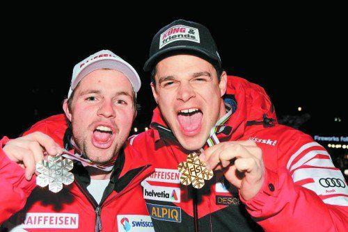 Gold und Bronze: Patrick Küng (r.) und Beat Feuz. Foto: Gepa