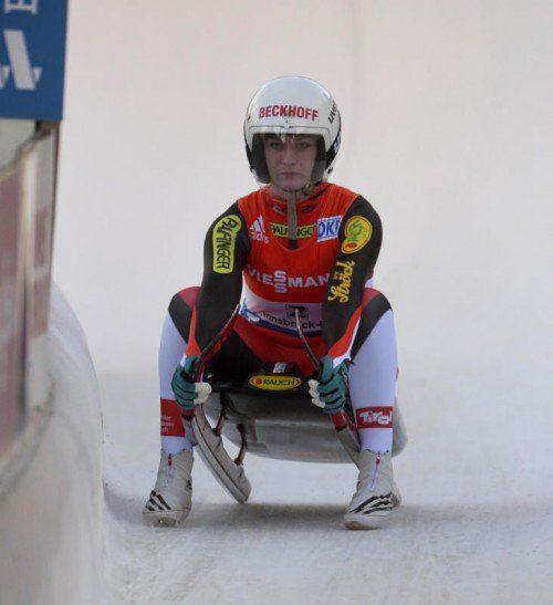 IGLS,AUSTRIA,29.NOV.14 - LUGE - FIL World Cup, artificial track, singles, women. Image shows Katrin Heinzelmaier (AUT). Photo: GEPA pictures/ Hans Osterauer