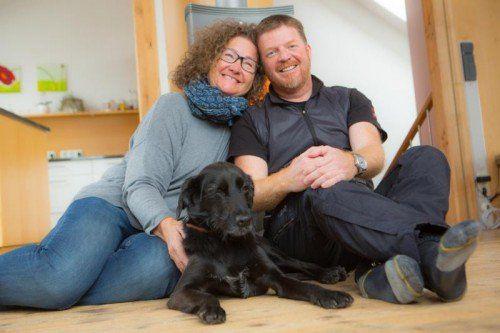 Labrador - mix und Ehepaar Schmuck
