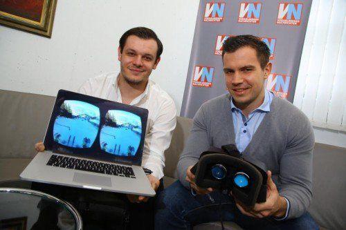 """Marko Tovilo und Florian Wassel mit """"Brille"""".  Foto: VN/Hofmeister"""