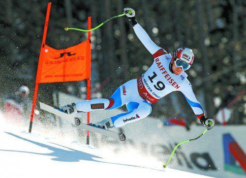 Patrick Küng auf der Fahrt zu WM-Gold in der Herren-Abfahrt. Foto: gepa