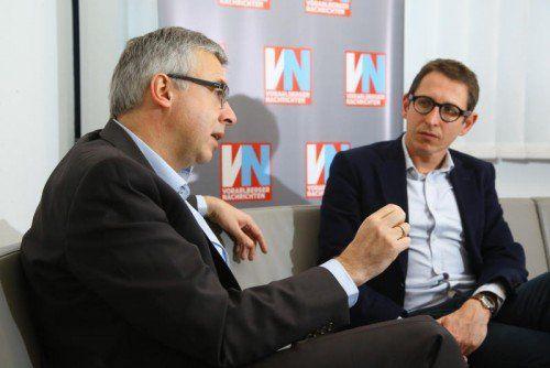 Studienautor Prof. Markus Ilg (l.) und Dieter Bitschnau, Spartenobmann Information und Consulting.  Foto: VN/Hofmeister