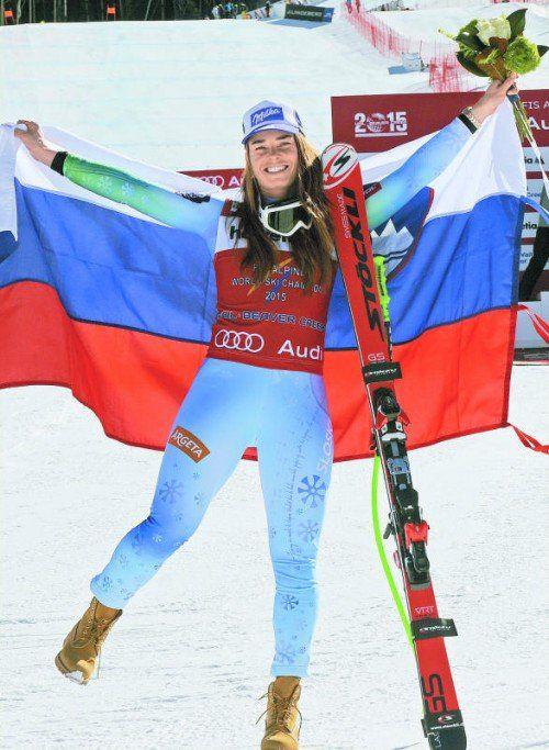 Tanzt sie der Konkurrenz wieder davon? Tina Maze ist in der WM-Kombination die ganz große Favoritin. Foto: apa