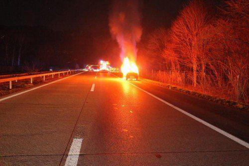 Bei dem Autobrand wurde niemand verletzt. Foto: KAPO