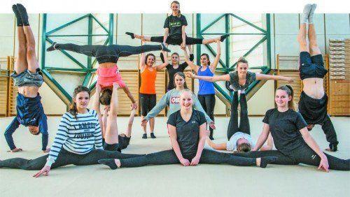 Die Teamturnerinnen und Teamturner verkörpern die Vielseitigkeit im Sportgymnasium Dornbirn. Fotos: Steurer/10, gepa