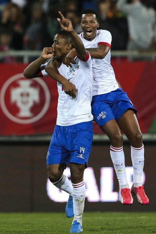 Gege (l.) bejubelt seinen Treffer gegen Portugal. Foto: epa
