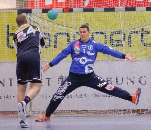 Goalie Vladimir Bozic war der einzige Bregenz-Akteur auf Top-Niveau gegen die Fivers. Foto: Paulitsch