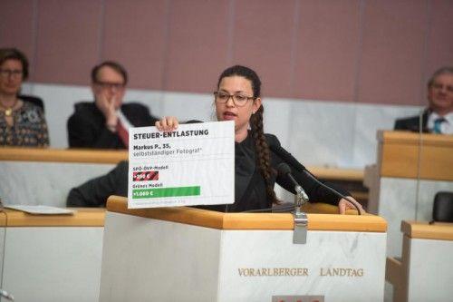 """""""Tafeln"""" kommen im Landtag immer mehr zum Einsatz: Auch Nina Tomaselli (Grüne) versuchte, damit zu punkten.  Foto: VN/Rhomberg"""