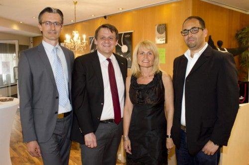 Business-Talk Bregenz mit Joachim Heinzl (l.), Christoph Thoma, Ingrid Schober und Niklas Keller.  Fotos: Franc