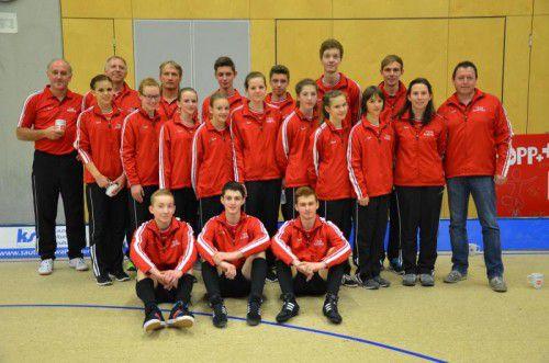 Das ausschließlich aus Vorarlberger Aktiven bestehende EM-Team mit seinen Trainern und Betreuern. Foto: Privat
