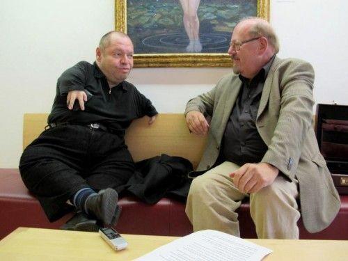Der berühmte Bassbariton Thomas Quasthoff im Gespräch mit VN-Musikkritiker Fritz Jurmann.  Foto: VN