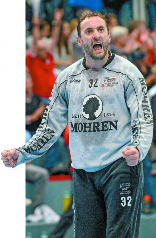 Hard-Goalie Golub Doknic ist ein wichtiger Leistungsträger im Spiel des Alpla HC Hard. Eine Topleistung des 34-Jährigen wäre die halbe Miete für den Einzug in das Finale. Foto: steurer