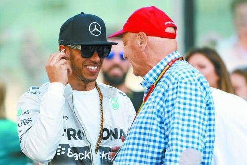 Lewis Hamilton und Niki Lauda: die Chemie stimmt. Foto: gepa