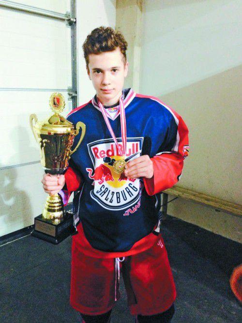 Marcel Zitz räumte mit dem Salzburger Eishockey-Nachwuchs gleich zwei Meistertitel ab. Foto: Privat