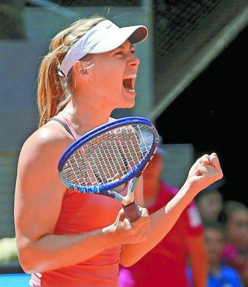 Maria Scharapowa jubelt nach dem Sieg über Wozniacki. Foto: ap