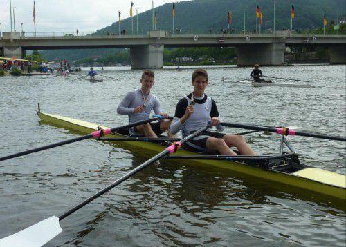 Schlagmann Martin Bischof (r.) und Matteo Nussbaumer verbuchten in Salzburg und Heidelberg insgesamt drei erste Plätze. Foto: privat