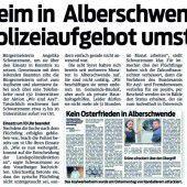 Polizeieinsatz in Alberschwende