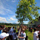 Kinder pflanzen Bäume für den Klimaschutz