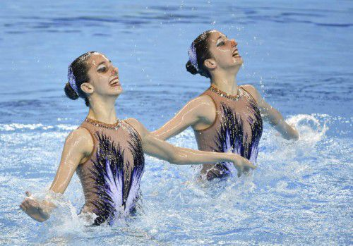 BAKU,AZERBAIJAN,15.JUN.15 - European Games Baku, Synchronised Swimming Duet. Image shows Eirini-Marina and Anna-Maria Alexandri (AUT). Photo: GEPA pictures/ Martin Hoermandinger