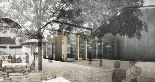 Das Genossenschaftscafé sollte nebem dem Montfortsaal, am Standort des Alten Feuerwehrhauses, entstehen.
