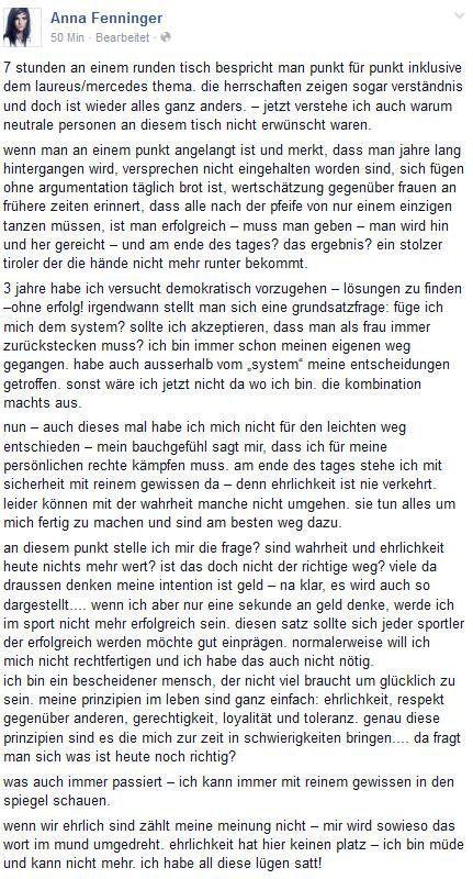 """Facebook-Eintrag von Anna Fenninger: """"Ich habe all diese Lügen satt!"""""""