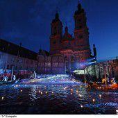 Der Canal Grande fließt durch St. Gallen: Für die Verdi-Oper I due Foscari wurde nun der Klosterplatz geflutet