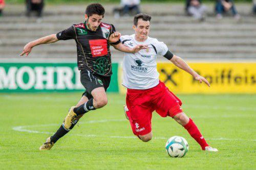 Aaron Kircher (rechts) soll im defensiven Mittelfeld beim FC Dornbirn für Ordnung sorgen.