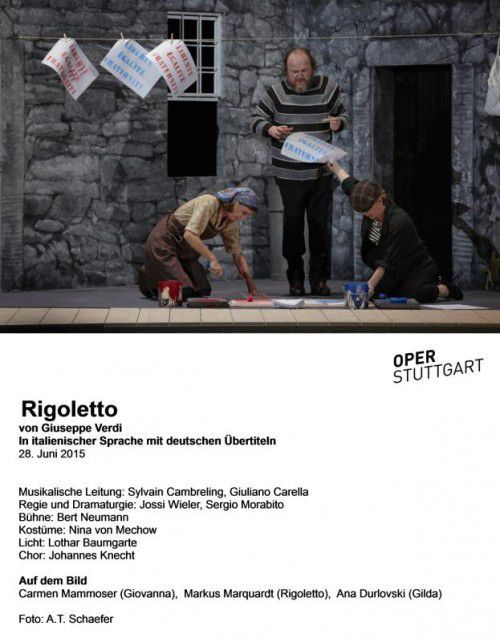 "Carmen Mammoser (Giovanna), Markus Marquardt (Rigoletto), Ana Durlovski (Gilda) in ""Rigoletto"".  Foto: Oper/Schaefer"