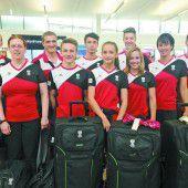 Das rot-weiß-rote Team der Turner ist startklar für die EYOF-Spiele