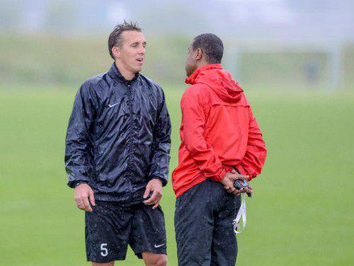 Der Trainer, Lassaad Chabbi (rechts), und sein Kapitän: Christoph Stückler ist mit seinen 35 Jahren Routinier und Vorbild zugleich.