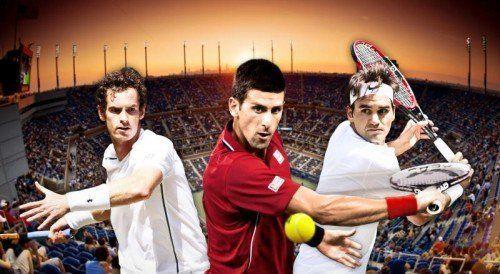 Die drei Favoriten bei den Herren (v. l.): Andy Murray, Weltranglisten-Leader Novak Djokovic und Roger Federer.