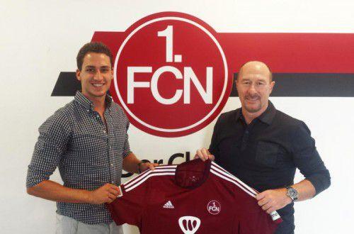 Georg Margreitter (l.) mit Wolfgang Wolf, dem Leiter der Fußballabteilung beim 1. FC Nürnberg.