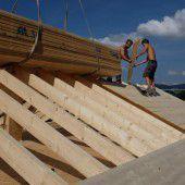 Werbung auf Holz gebaut