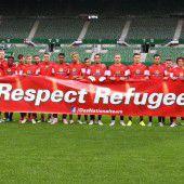 Österreichs Teamspieler zeigen Flagge