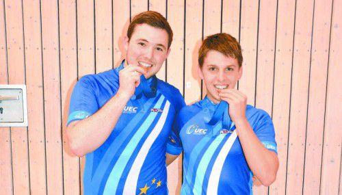 Die Unter-23-Europameister im Radball: Patrick Schnetzer (l.) und Johannes Bauer.