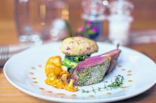 Köstliche Ländle-Küche: Lammkrone mit Pfifferling-Topfen-Nockerl.
