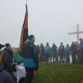 Bergmesse für Gipfelkreuz auf der Hohen Kugel